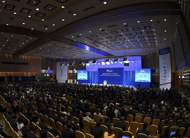 This photo provided by China's Xinhua News Agency shows a view of the Boao Forum in its opening in Boao on Hainan island in southern China, Saturday, March 28, 2015. Chinese President Xi Jinping a