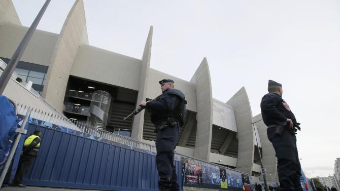 Armed French CRS police outside the Parc des Princes soccer statium ahead of a Ligue 1 match in Paris