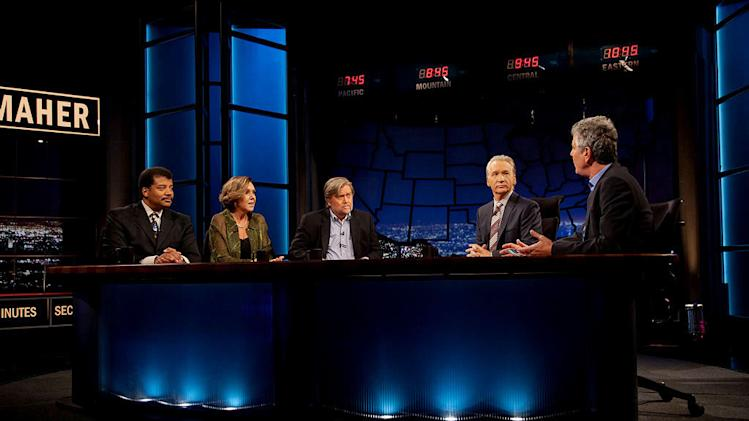 "Neil deGrasse Tyson, Joan Walsh, Stephen K. Bannon, Bill Maher, and Anthony Bourdain in ""Real Time with Bill Maher."""
