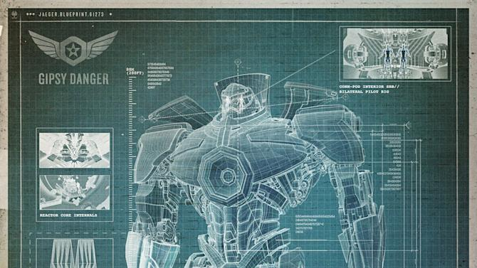 "This blueprint image released by Warner Bros. Pictures shows details of the Gipsy Danger robot from the film ""Pacific Rim."" The film fulfills a very basic boyhood fantasy: big ol' robots and giant monsters slugging it out. The concept to Guillermo del Toro's ""Godzilla""-sized film is about as simple as it gets, but actually constructing such mammoth creations is a far more arduous undertaking. (AP Photo/Warner Bros. Pictures)"