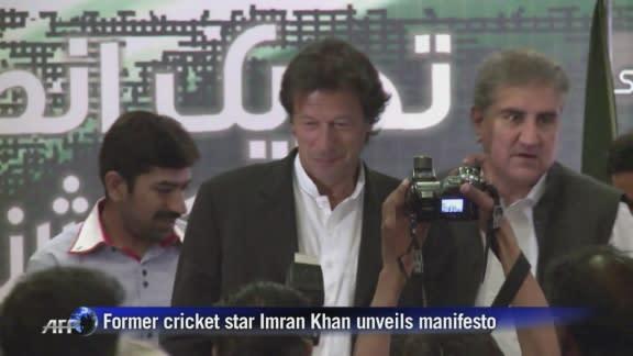 Former cricket star Imran Khan unveils election manifesto
