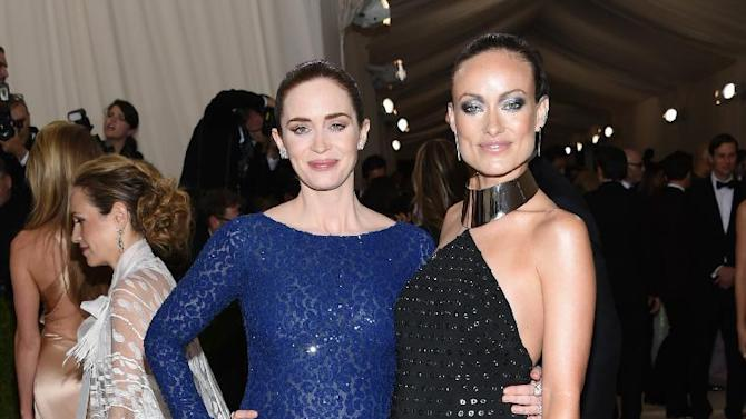 "Emily Blunt, left, and Olivia Wilde arrive at The Metropolitan Museum of Art Costume Institute Benefit Gala, celebrating the opening of ""Manus x Machina: Fashion in an Age of Technology"" on Monday, May 2, 2016, in New York. (Photo by Evan Agostini/Invision/AP)"