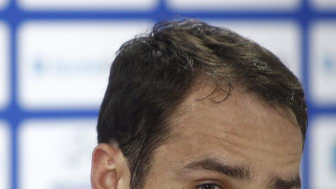 Russia's Shirokov during a news conference ahead of their 2014 World Cup qualifying soccer match against Azerbaijan in Baku