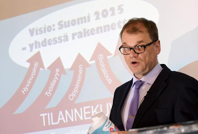 """Finland's new prime minister Juha Sipila said """"big and painful measures"""" are ahead in order to boost economic growth"""