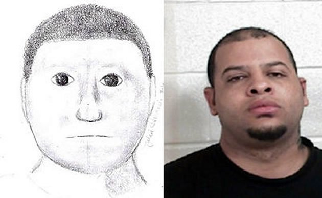 This police sketch that was mocked on the Internet resulted in the arrest of an alleged criminal. (Photos: Lamar County Sheriff's Department and eParisExtra.com)