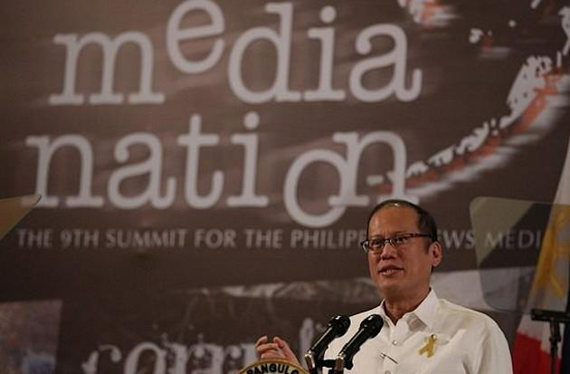 President Benigno S. Aquino III addresses the 9th MediaNation Summit of the News Media at the Ballroom 3, Lake Wing Section, Taal Vista Hotel in Tagaytay City on Friday (November 23, 2012). The summit has tackled major issues such as tension between commerce and ethics, the challenges of political reportage, conflict reporting, violence versus the media and other topics. After 9 years, the MediaNation Summit proposes to finally tackle head on the enormous, if often ignored the problem of corruption in the news media. (Photo by: Jay Morales/MPB/NPPA Images)