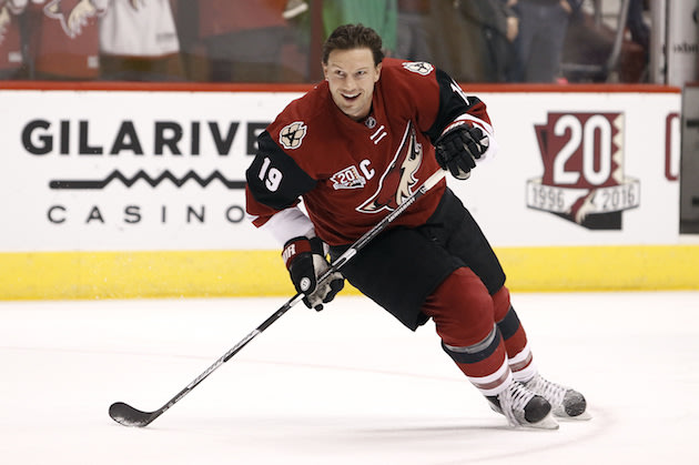 Arizona Coyotes' Shane Doan skates during pre-game warm up before an NHL hockey game against the Dallas Stars, Tuesday, Dec. 27, 2016, in Glendale, Ariz. (AP Photo/Ralph Freso)
