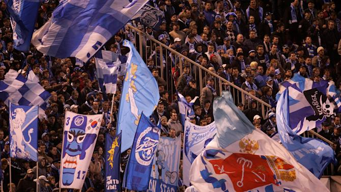 Zenit fans during the UEFA Cup quarter final second leg match between Zenit St. Petersburg and Bayer Leverkusen at the Petrovsky stadium on April 10, 2008 at St. Petersburg, Russia. (Photo by Vladimir Rys/Bongarts/Getty Images)