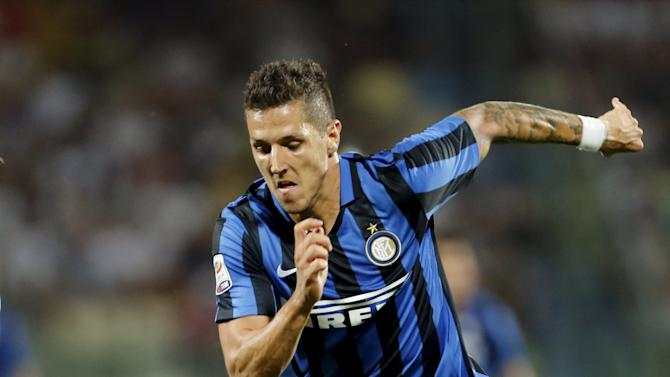 Inter Milan's Jovetic runs for the ball during their Serie A soccer match against Carpi in Modena
