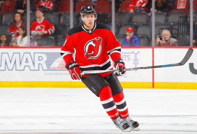 NEWARK, NJ - NOVEMBER 12: Taylor Hall #9 of the New Jersey Devils in action against the Buffalo Sabres at the Prudential Center on November 12, 2016 in Newark, New Jersey. The Devils defeated the Sabres 4-2. (Photo by Jim McIsaac/Getty Images)