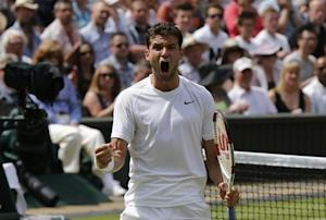 Grigor Dimitrov of Bulgaria reacts during his men's singles quarter-final tennis match against Andy Murray of Britain at the Wimbledon Tennis Championships, in London