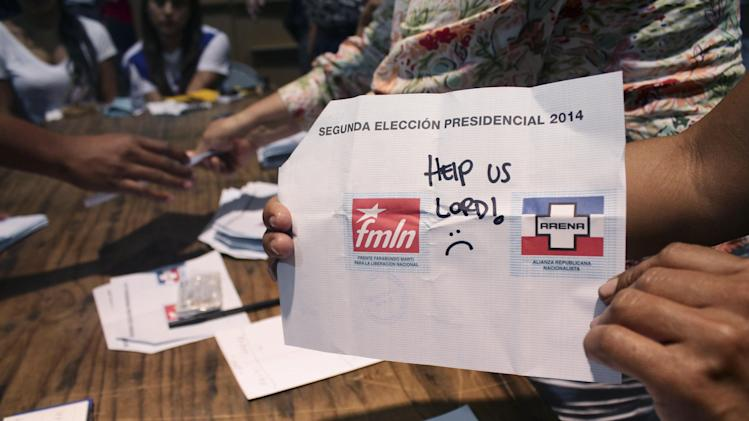 runoff election in San Salvador, El Salvador, Sunday, March 9, 2014 ...