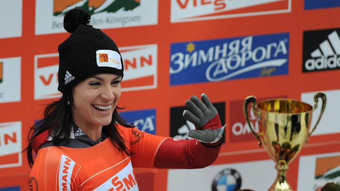 Canada's Melissa Hollingsworth reacts after the final competition race of the Skeleton World Cup in Schoenau, southern Germany, on January 13, 2012. Great Britian's Shelly Rudman won the competition, German Marion Thees placed second, Canadian Melissa Hollingsworth placed third. AFP PHOTO / CHRISTOF STACHE (Photo credit should read CHRISTOF STACHE/AFP/Getty Images)