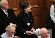 "Janet Appleby, a vicar from Tyne and Wear, speaks during a meeting of the Church of England General Synod in central London on November 20. The Church of England has ""undoubtedly"" lost credibility after voting to reject the appointment of women bishops, its leader the Archbishop of Canterbury said Wednesday."