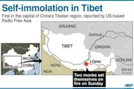 Graphic showing Lhasa the capital of China's Tibetan region where two Buddhist monks have set themselves on fire, US-based Radio Free Asia said Monday