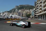Mercedes' Nico Rosberg drives during the third practice session ahead of the Monaco Grand Prix. Michael Schumacher rolled back the years with the fastest lap in qualifying for Sunday's Monaco Grand Prix, although Australian Red Bull driver Mark Webber will start the race from pole position