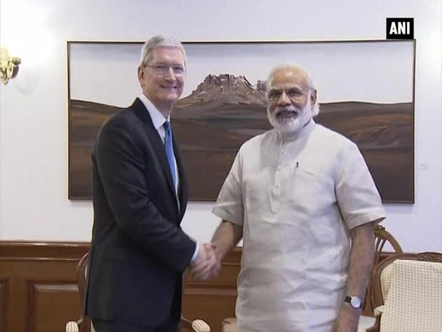 Apple CEO Tim Cook calls on PM Modi in New Delhi