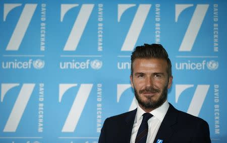 David Beckham speaks a press conference to mark his 10 years as a UNICEF Goodwill Ambassador, at Google's headquarters in central London