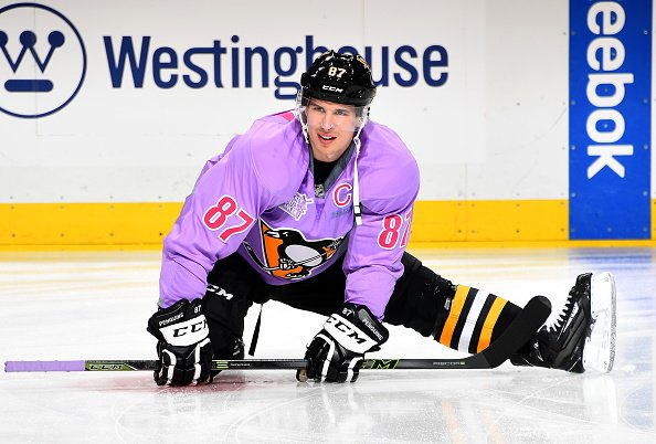 PITTSBURGH, PA - OCTOBER 25: Sidney Crosby #87 of the Pittsburgh Penguins warms up while wearing a purple Hockey Fights Cancer jersey prior to the game against the Florida Panthers at PPG Paints Arena on October 25, 2016 in Pittsburgh, Pennsylvania. (Photo by Joe Sargent/NHLI via Getty Images)