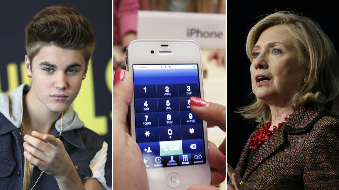 This photo combo shows, from left, entertainer Justin Bieber, an iPhone, and Secretary of State Hillary Rodham Clinton. This year's Beloit College Mindset List, a nonscientific compilation, is meant to remind teachers that college freshmen, born mostly in 1994, see the world in a much different way. (AP Photo)