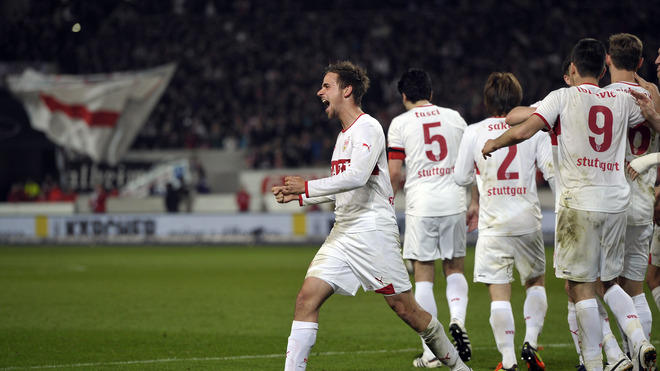 Stuttgart's Forward Martin Harnik (L) Celebrates Next To Teammates   RESTRICTIONS / EMBARGO - DFL LIMITS THE USE OF AFP/Getty Images