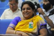 Tessy Thomas, the first female scientist to head a missile project in India, at a press conference in New Delhi on April 20. Thomas was project director for the Agni V long-range nuclear-capable missile which was test-fired last week in a major military advance that will give India the ability to hit all of rival China's cities for the first time