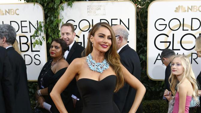 "Actress Sofia Vergara from the sitcom ""Modern Family"" arrives at the 71st annual Golden Globe Awards in Beverly Hills"