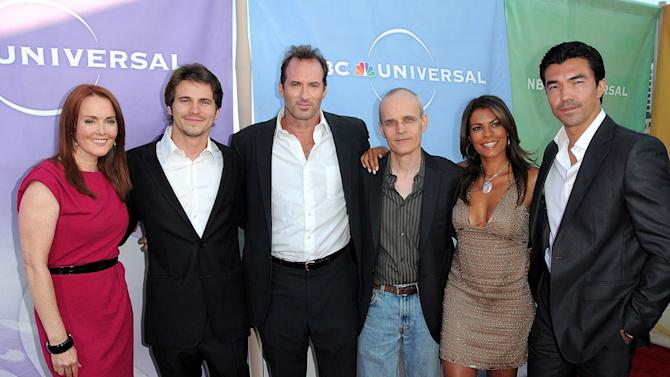 """""""The Event's"""" Laura Innes, Jason Ritter, Scott Patterson, Zeljko Ivanek, Lisa Vidal, and Ian Anthony Dale arrive at NBC Universal's 2010 TCA Summer Party on July 30, 2010 in Beverly Hills, California."""