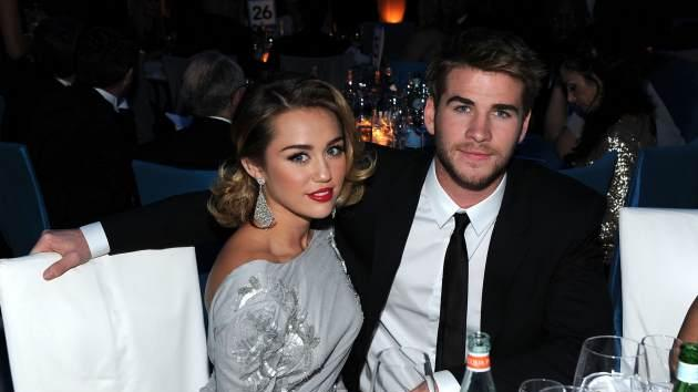 Miley Cyrus and Liam Hemsworth attend the 20th Annual Elton John AIDS Foundation Academy Awards Viewing Party at The City of West Hollywood Park on February 26, 2012 in Beverly Hills, Calif. -- Getty Images
