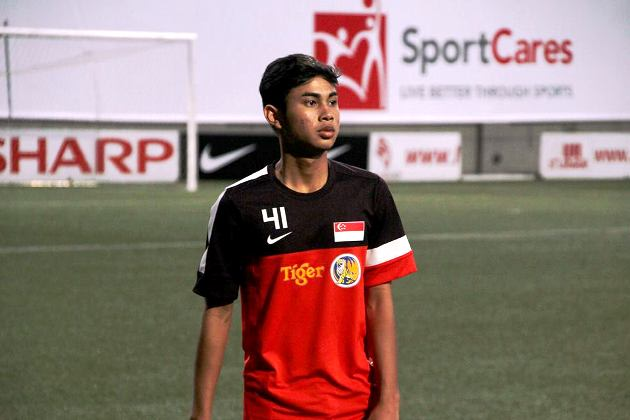 Adam Swandi at his first Singapore national team training session. (Football Association of Singapore Photo)