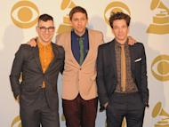 Jack Antonoff, Andrew Dost and Nate Ruess of the band fun. pose in the press room at the Grammy nominations concert on December 5, 2012. The New York band topped nominations announced in December, shortlisted in six categories