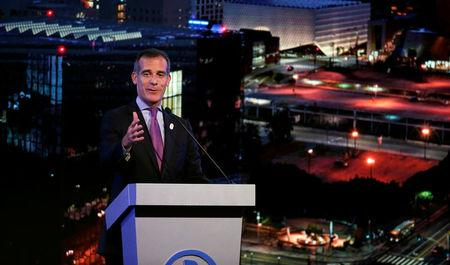 Los Angeles Mayor Garcetti speaks at a business event at the Bing theatre in Los Angeles