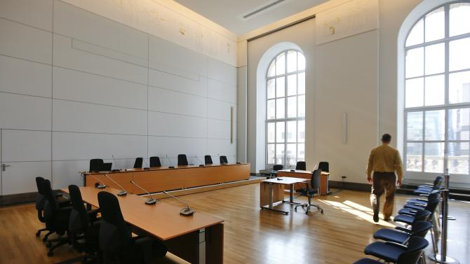 The courtroom of the Munich Landgericht, where Bayern Munich's President Uli Hoeness will stand trial, is seen in Munich