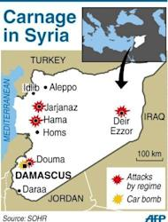 "A map showing attacks by Syrian forces and car bomb in Damascus. Violence in Syria claimed the lives of another 30 people on Wednesday, as France said the UN-backed peace plan was ""seriously compromised"" and that the deployment of monitors should be speeded up"