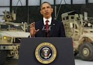 US President Barack Obama delivers an address to the American people on US policy and the war in Afghanistan during his visit to Bagram Air Base in Afghanistan. Obama told Americans the goal of defeating the Al-Qaeda network was within reach, more than a decade after the September 11 attacks