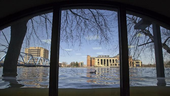 A duck swims past a window, viewed from inside Anderson Eye Care at the Riverfront Plaza Building in downtown Grand Rapids, Mich., as The Grand River crests on Monday, April 22, 2013, at an all time high of 21.85 feet, a full 2.2 feet above the record set in 1985, in downtown Grand Rapids.  (AP Photo/The Grand Rapids Press, Cory Morse)