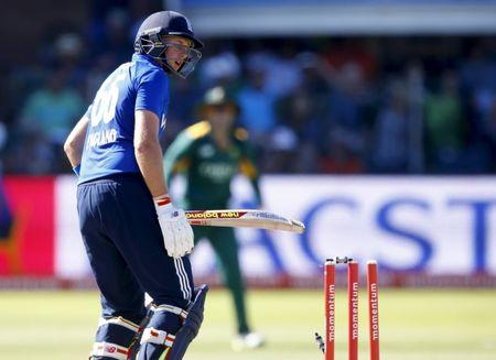 England's Joe Root looks on after being bowled during the second One Day International cricket match against South Africa in Port Elizabeth