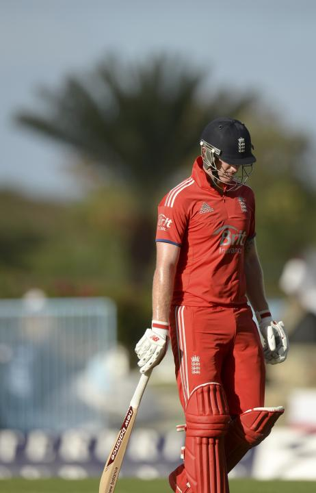 England's Stokes leaves the field after being dismissed during the first One-Day International against the West Indies at North Sound in Antigua