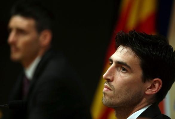 Athletic Bilbao's defender Andoni Iraola during the press conference held at Camp Nou stadium in Barcelona, Catalonia Spain on 29 May 2015. Athletic Bilbao will face FC Barcelona in a King's C