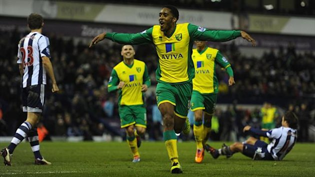 Norwich player Leroy Fer celebrates after scoring the second goal during the Barclays Premier League match between West Bromwich Albion and Norwich City at The Hawthorns on December 7, 2013 in West Bromwich, England. (Photo by Stu Forster/Getty Images)