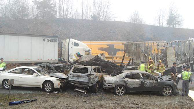 This photo provided by the Virginia State Police shows the scene following a 75-vehicle pileup on Interstate 77 near the Virginia-North Carolina border in Galax, Va., on Sunday, March 31, 2013. Virginia State Police say three people have been killed and more than 20 are injured and traffic is backed up about 8 miles. (AP Photo/Virginia State Police, Sgt. Mike Conroy)