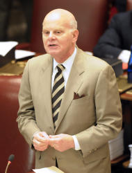 Sen. Stephen M. Saland, R-Poughkeepsie, during a session of the New York state Senate at the Capitol in Albany, N.Y., Tuesday, June 14, 2011. (AP Photo/Hans Pennink)