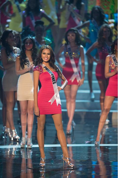 Miss Universe Philippines 2012, Janine Tugonon, is announced as one of the top sixteen contestants in her Sherri Hill dress and Chinese Laundry shoes during this year's LIVE NBC Telecast of the 2012 M