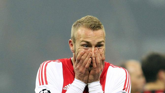 Ajax Amsterdam's van der Hoorn reacts after their Champions League soccer match against AC Milan in Milan