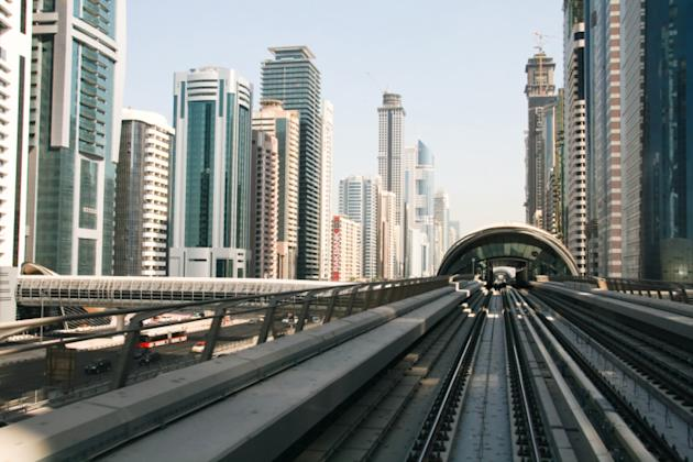 Dubai metro and Dubai skylines