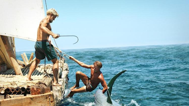 "This film image released by The Weinstein Company shows Jakob Oftebro as Torstein, left, and Tobias Santelmann as Knut in a scene from ""Kon Tiki."" (AP Photo/The Weinstein Company)"