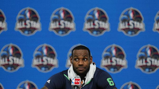 The Miami Heat's LeBron James speaks at a news conference after the NBA All Star basketball game, Sunday, Feb. 16, 2014, in New Orleans