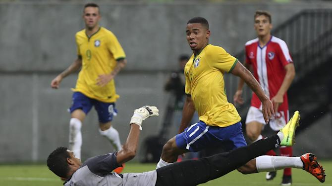 Gabriel Jesus of Brazil's Under-23 team kicks the ball during friendly soccer match against Dominican Republic's Under-23 team in Manaus