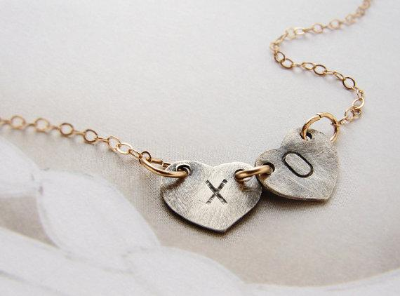 XO Kiss Hugs Initials Necklace