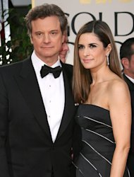 Firth impressed with wife's recycled Golden Globes gown